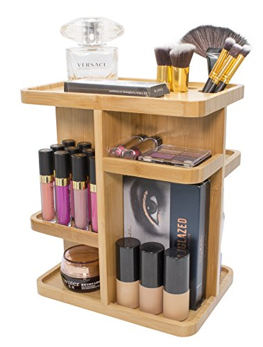 Sorbus 360° Bamboo Cosmetic Organizer, Multi-Function Storage Carousel for Makeup, Toiletries, and More — for Vanity, Desk, Bathroom, Bedroom, Closet, Kitchen ()