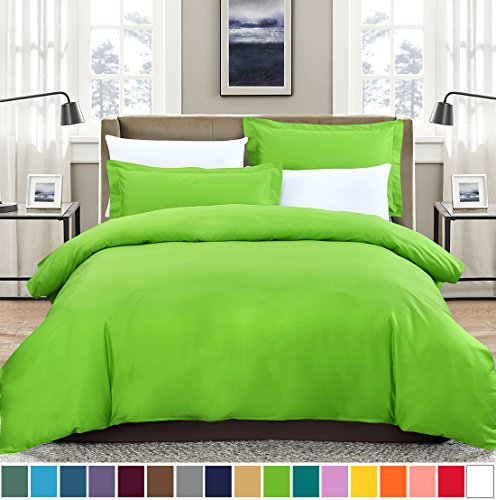 SUSYBAO 3 Pieces Duvet Cover Set 100% Cotton King Size 1 Duvet Cover 2 Pillow Shams Light Green Luxury Hotel Quality Soft Breathable Hypoallergenic Fade Stain Wrinkle Resistant with Zipper Ties (2 Piece Boudoir Rose)