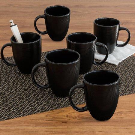 Better Homes and Gardens Matte Swirl Mugs, Black, Set of 6 (Home And Garden Mug)