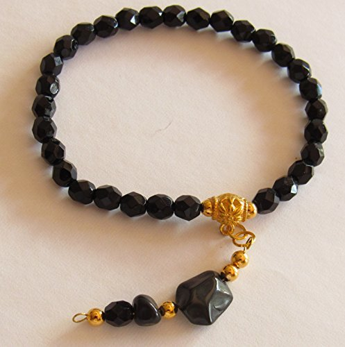 Black Onyx Stretch Bracelet with Black Agate Charm