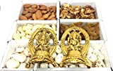 URBAN HAAT Mix of Dry Fruit Pack with Gold Plated Laxmi and Ganesh Pair (10 cm) as Corporate Gift / Deepwali Gift / Diwali Gift ( 480 Gram )