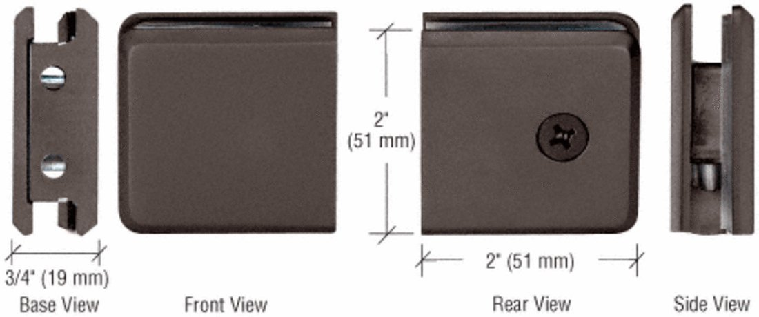 CRL Oil Rubbed Bronze Beveled Style Notch-in-Glass Fixed Panel U-Clamp
