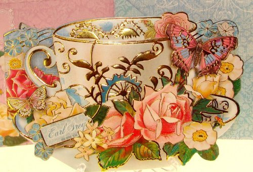 (Punch Studio Boutique 10 Note Cards Die-Cut Gold Embellished #66909 Teacup of Earl Grey & Roses)