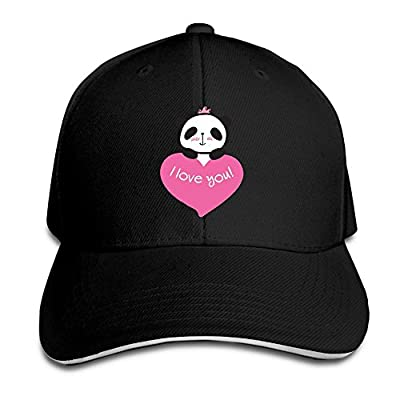SeeSeasan Cute Panda Heart Custom Sandwich Peaked Cap Unisex Baseball Hat