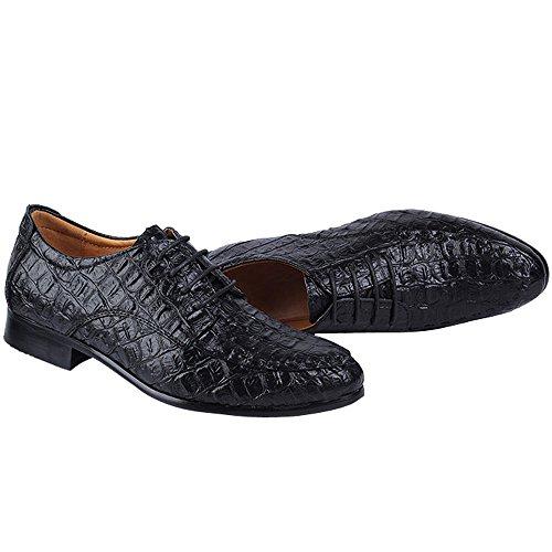 ODEMA Men's Lace-up Herren Slipper, Leder, Schwarz - schwarz - Größe: 39.5