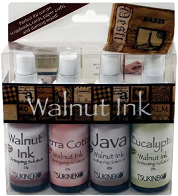 Tsukineko Walnut Ink Antiquing Solution Spray, 2-Ounce, 4-Pack