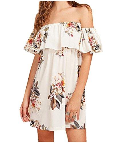 Print Shoulder As1 Women's Floral Coolred Off Dress Hem Flounced line A nAZax1U