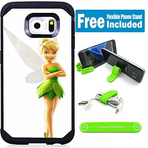 Galaxy S7 Hybrid Case Cover with Flexible Phone Stand - Tinkerbell (Tinkerbell Cell Phone Covers)