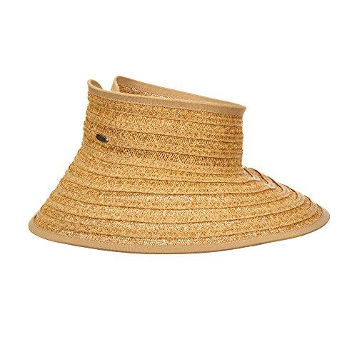 SCALA Vent Paper Braid Roll Visor Sun Big Brim Hat (Toast)