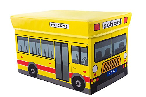 School Bus Collapsible Toy Storage Organizer by Clever Creations | Toy Box Folding Storage Ottoman for Kids Bedroom | Perfect Size Toy Chest for Books, Kids Toys, Baby Toys, Baby Clothes