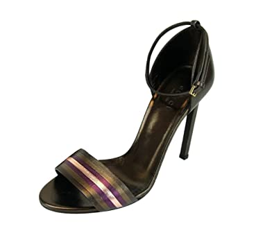 7011e436b79 Amazon.com  Gucci Metallic Leather Ankle Strap Sandal 339834  Shoes