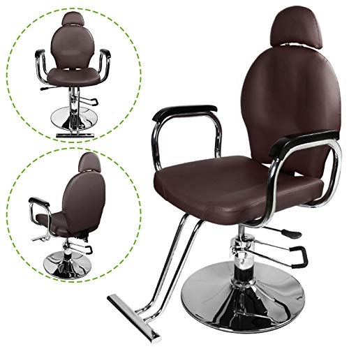 Geniqua Barber Chair Recliner Hydraulic Foot Pump Hair Salon Beauty Brown PVC Leather