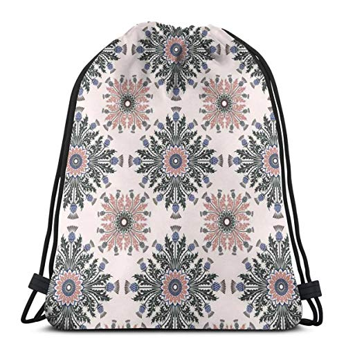 - Unisex Drawstring Bag Gym Bags Storage Backpack,Colorful Ethnic Ornament Of Thistle Flowers With Curved Leaves And Stems Print
