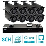 GW 8 Channel H.265 NVR 5-Megapixel Security Camera System, 8pcs 5MP 1920p 3.6mm Wide Angle POE Weatherproof Bullet IP Cameras, 80ft Night Vision For Sale