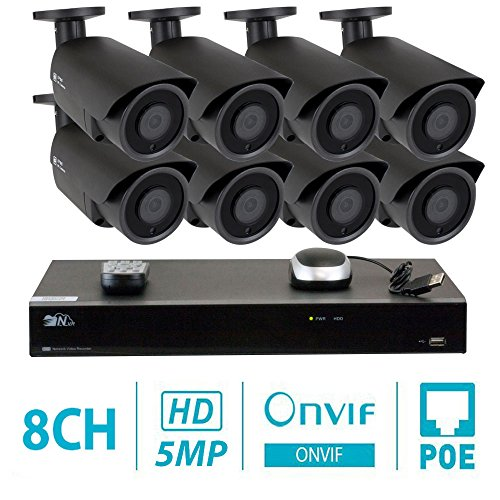 GW 8 Channel H.265 NVR 5-Megapixel Security Camera System, 8pcs 5MP 1920p 3.6mm Wide Angle POE Weatherproof Bullet IP Cameras, 80ft Night Vision
