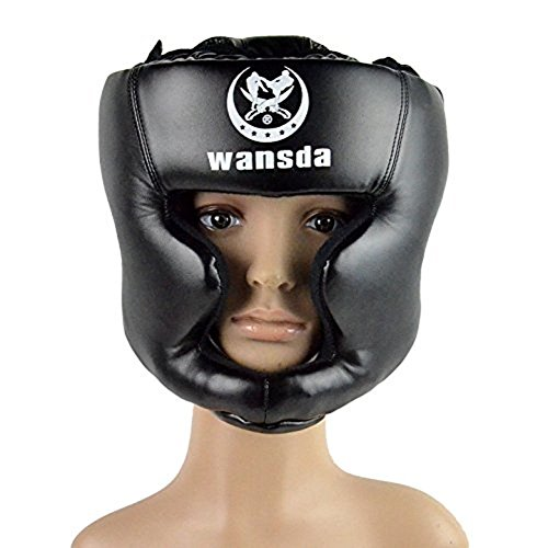 SANJOIN Boxing Helmet Closed Type Boxing Head Guard Sparring MMA Muay Thai Kick Brace Head ()