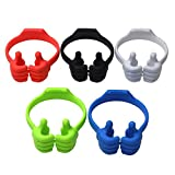 Thumbs up Phone Stand, Honsky 5 Packs Universal Flexible Multi-angle Cute iPhone iPad Mini Android Smart Cellphone Tablet Desk Holder for Kitchen Office Home Travel, Blue Black Green White Light Red