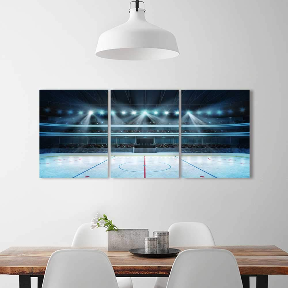 3 Pieces Art The Picture Home Decoration Frameless Hockey Stadium Fans Crowd an Empty ice Rink Sport Art Home Decorations Wall Decor