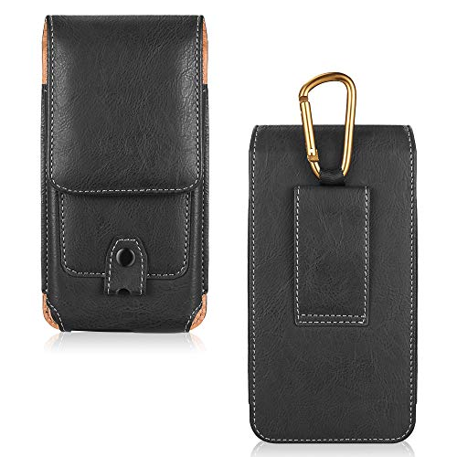 LUXMO Vertical Phone Holster Genuine Leather Case Belt Clip Pouch Carrying Cover [Key Holder Case] with Card Slots Hanging Ring Compatible with iPhone 6 6s 7 8 (Black) ()