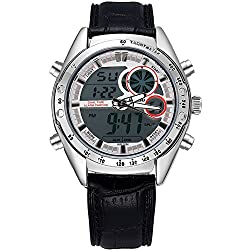 Fashion leather Stainless Steel Luminous Dial Men's Analog Quartz Digital Watch (White)