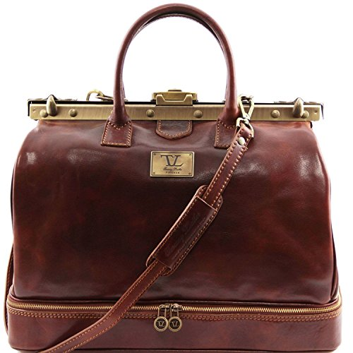 Tuscany Leather - Barcelona - Double-bottom Gladstone Leather Bag Brown - (Barcelona Leather Handbag)