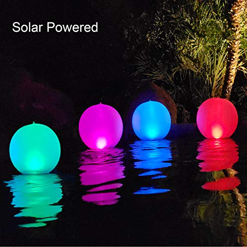 Esuper Floating Ball Pool Light Solar Powered 1 Pack, 14 Inch Inflatable IP68 Waterproof Rechargeable Battery Operated Color Changing Led Glow Globe Pool Night Lamp for Garden, Pond, Party Decor