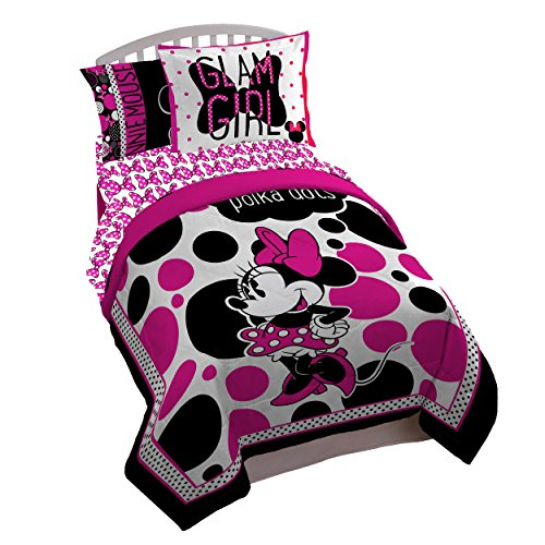 (Disney Minnie Mouse Rock the Dots Twin/Full Comforter - Super Soft Kids Reversible Bedding features Minnie Mouse - Fade Resistant Polyester Microfiber Fill (Official Disney Product) )