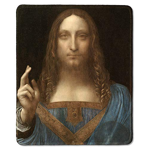 - dealzEpic - Art Mousepad - Natural Rubber Mouse Pad with Famous Fine Art Painting of Jesus Christ as Salvator Mundi by Leonardo da Vinci - Stitched Edges - 9.5x7.9 inches