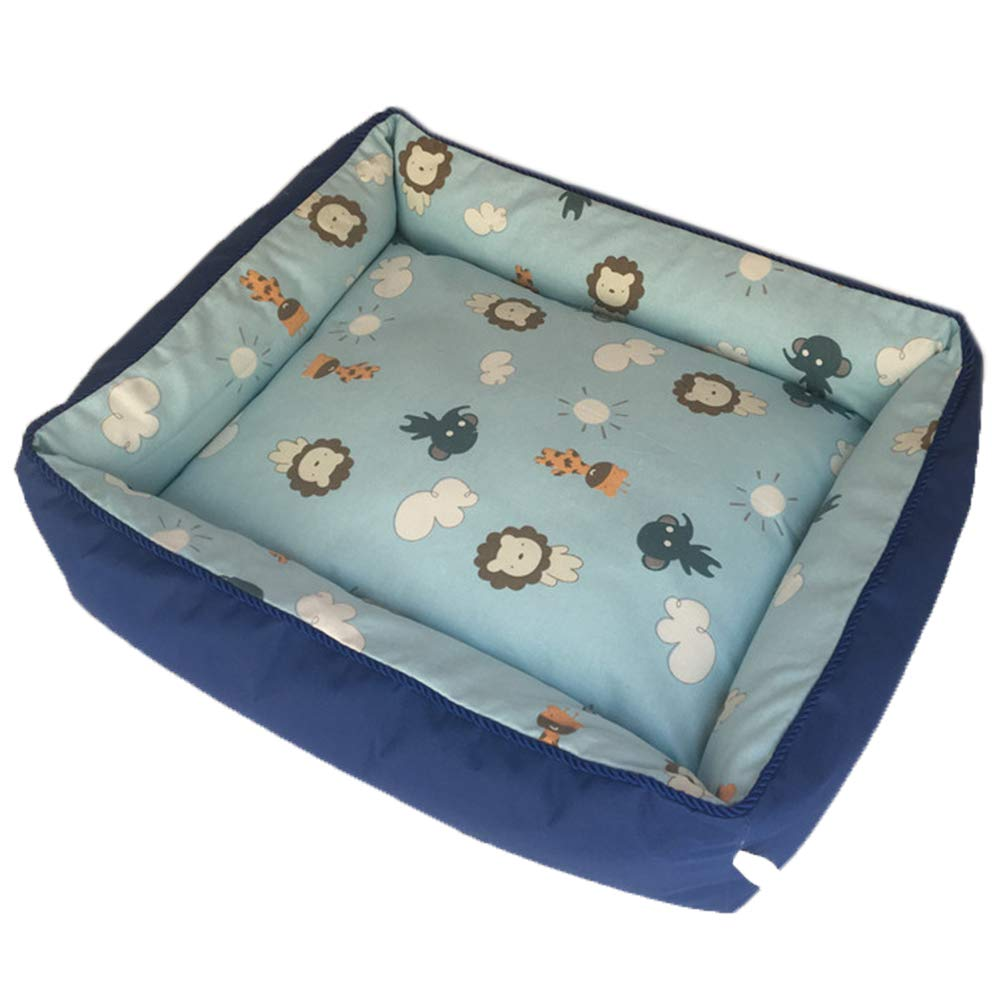 bluee M(2 5-3 5kg dog) bluee dog) Canvas Pet Bed Cushion for