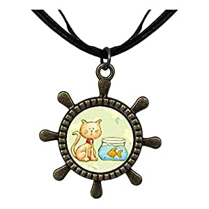 Chicforest Bronze Retro Style Cat With Goldfish Ship Steering Wheel Pendant