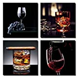 Karvin Arts Contemporary Modern Red Wine Pouring into Glass Grape Ice Cigar Noble Canvas Print Wall Art Painting For Home Kitchen Decor 16x16 inch