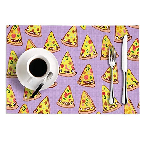Scsdw Wdrt Placemats Funny Pizza Online Deals Popular Mode Near me Heat-Resistant Non Slip Washable Crossweave Woven PVC Kitchen Table Mats - Set of 2