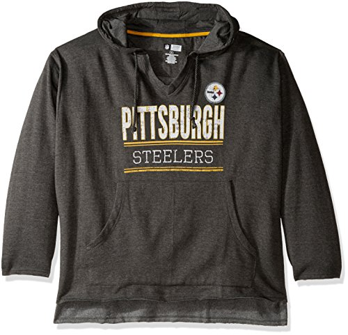 NFL Pittsburgh Steelers V Notched Pullover Hood with Ragged Edge, 2X, Charcoal/Heather at Steeler Mania