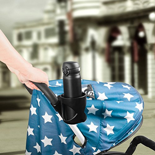AULLY Park Stroller Cup Holder, Drink Holder for Wheelchair, Bicycle, Office Chair, Scooter, Adjustable Water Bottle Cage (Black) by AULLY PARK (Image #5)