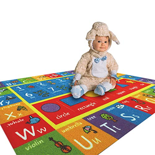 Yu2d  Playtime Collection ABC, Numbers and Shapes Educational Area Rug(Multicolor) ()