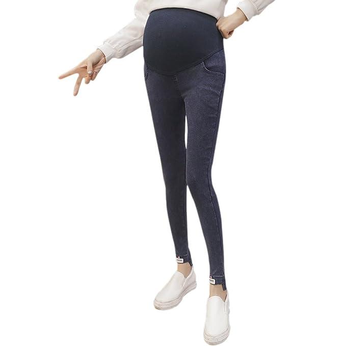 BOZEVON Mujeres Embarazadas Pantalones Largos Cintura Alta Pierna Flaca ...