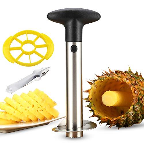 Pineapple Corer, Professional Stainless Steel Pineapple Cutter, Corer Slicer Cutter Eye Peeler 3 in 1 Kit, Upgraded, Reinforced, Thicker Blade Non Slip Detachable Handle by KSANA