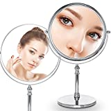 GF Wood 8-Inch Diameter 10X Magnifying Makeup Mirror Smooth 360 Degrees Rotation Dual Side Mirror