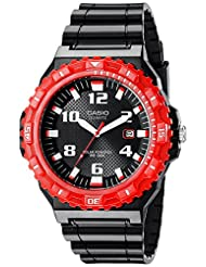 Casio Men's MRWS300H-4BV Diver Look Solar Powered Watch, Black with Red Accents
