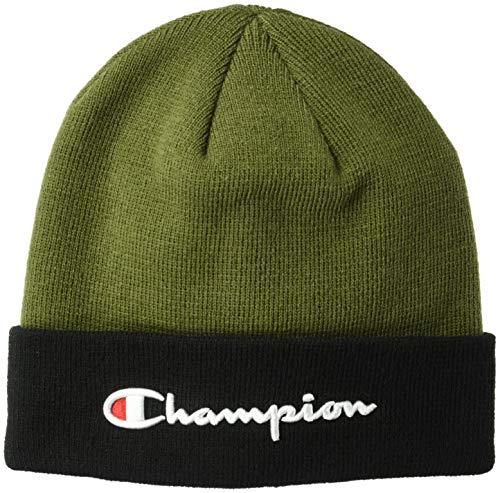 Champions Knit Hat - Champion LIFE Men's Script Beanie, Hiker Green/Black, OS