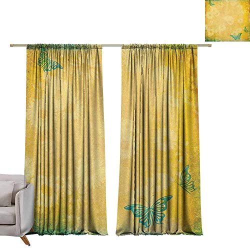 Balloons Gerbera Daisy (Customized Curtains Vintage,Grunge Look Faded Gerbera Daisy Flowers and Blue Butterflies Nostalgic Romantic, Multicolor W96 x L84 Decor Curtains by)