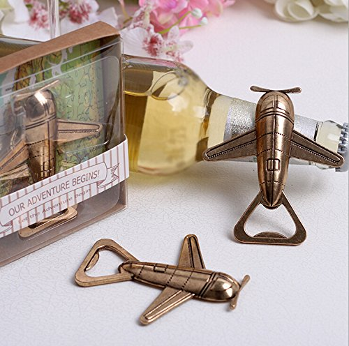 ''Let the Adventure Begin'' Airplane Bottle Opener For Wedding Favor, Set of 72 by cute rabbit