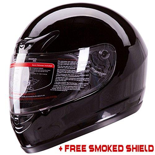 Gloss Black Full Face Motorcycle Helmet DOT +2 Visors Comes with Clear Shield and Free Smoked Shield (L) - Gloss Black Helmet