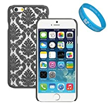 Black Frosted Lace Design TPU Skin Cover for Apple iPhone 6 + SumacLife TM Wristband