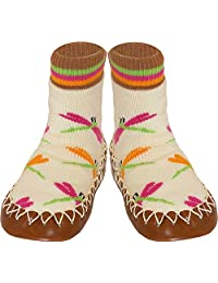 Konfetti Dragonfly Kids Swedish Moccasins House Slippers Shoes - Girls Slipper Socks - Home Footwear for Toddlers, Pre-Schoolers and Children