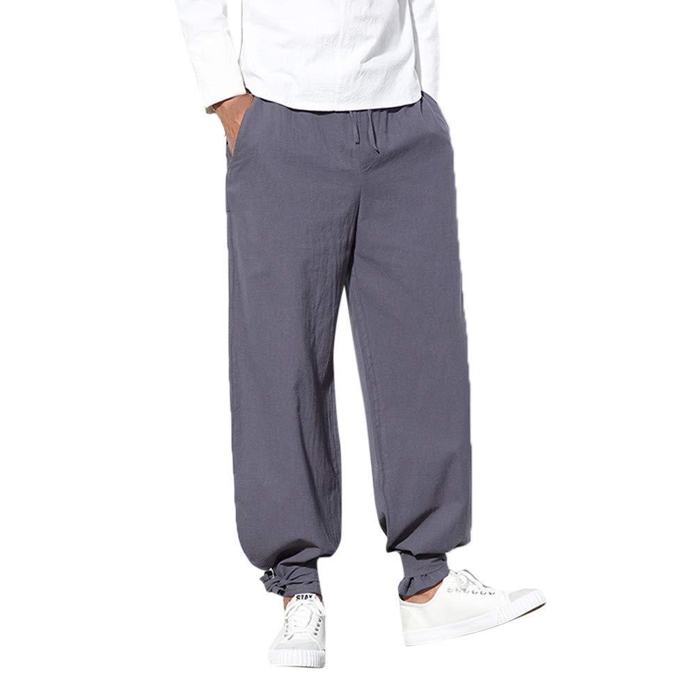 Casual Baggy Pants for Men Mitiy Elastic Waist Drawstring Cotton Loose Harem Casual Trousers