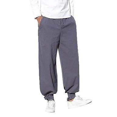Pantalones de Largos de Hombre Moda Color Sólido Cómodo ...