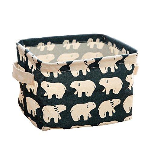 Eco Modern Storage (Foldable Mini Square Storage, Htgtai Natural Linen & Cotton Fabric Bins Baskets Organizers for Shelves & Desks#1)