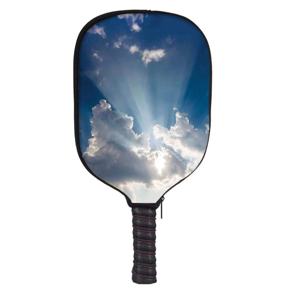 MOOCOM Sky Decor Fashion Racket Cover,Big Sunbeam Coming Out of Clouds Sunny Day Overcast Sky Scenic Picture for Playground,8.3'' W x 11.6'' H