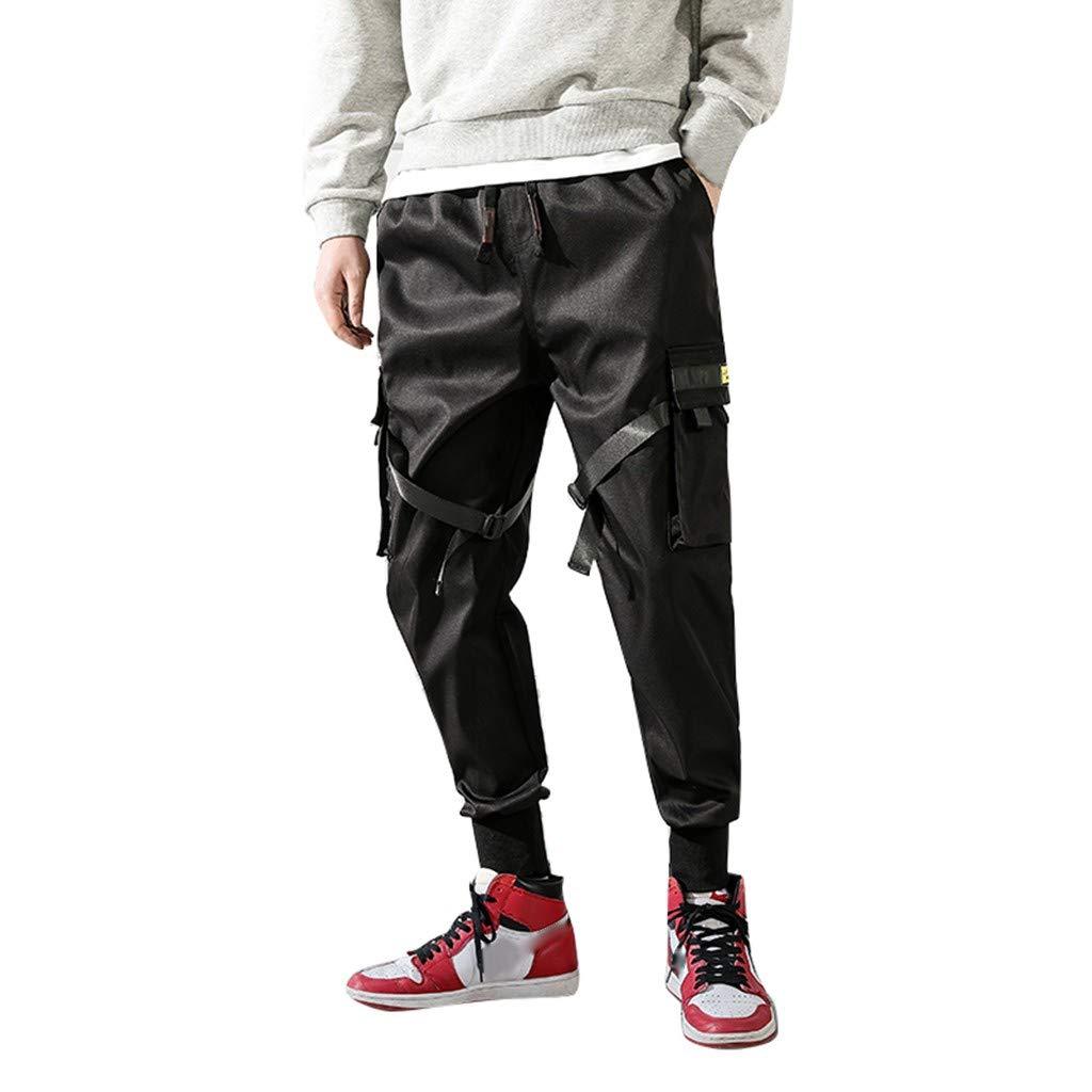 Fuumiol Mens Track Pants Sport Harem Pants Casual Hip Hop Drawstring Ankle Pants Ankle Length Sweatpants with Big Pocket Black by Fuumiol